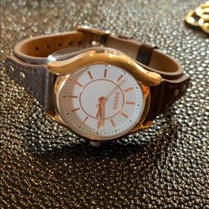 Brown Leather Rose Gold fossil watch